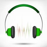 Green headphones Stock Photos