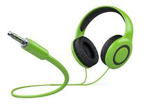 Green headphones with wire and 3.5 mm jack plug. 3d illustration isolated over white background Stock Photos