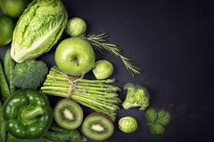 Green healphy vegetables and fruits Stock Photos