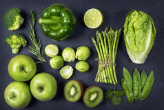 Green healphy vegetables and fruits stock images