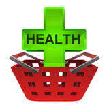 Green health cross in red basket vector Stock Photo