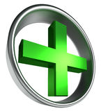 Green health cross in round metal frame Royalty Free Stock Images
