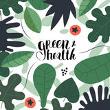Green and health lettering Stock Photo