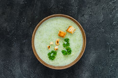 Free Green Healthy Cream Soup With  Broccoli, Crackers, Cashew, Parsley. Top View Stock Photography - 97884912