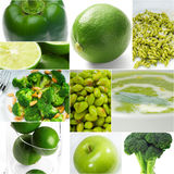 Green healthy food collage collection Stock Photography