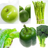 Green healthy food collage collection Royalty Free Stock Photography