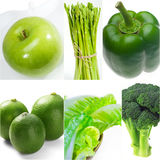 Green healthy food collage collection Royalty Free Stock Photos