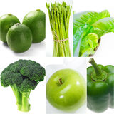 Green healthy food collage collection Royalty Free Stock Images