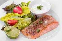 Green and healthy food salmon salad. Stock Photo