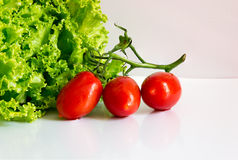 Green healthy salad with tomatoes Stock Photos