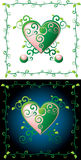 Green heart. Two versions, layered and grouped illustration for easy editing Stock Images