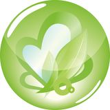 Green heart. Abstract heart symbolizing the care of the environment Stock Photography