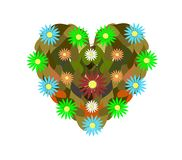 Green heart. An heart created with daisies and leaves. An idea to explain the concept of love for nature Royalty Free Stock Image