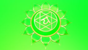 Green Heart chakra Anahata symbol concept of Hinduism, Buddhism, Ayurveda. love healing. 3d rendering stock illustration