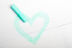 Green heart and chalk Stock Photography