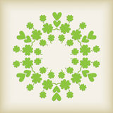 Green Heart and Clover Background Stock Images