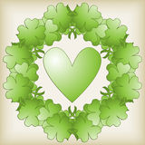 Green Heart and Clover Background stock illustration