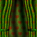 Green heart curtain. Royalty Free Stock Photos