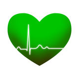 Green heart with ECG Royalty Free Stock Photography