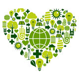 Green heart with environmental icons Royalty Free Stock Images