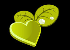Green heart with leaves Royalty Free Stock Images