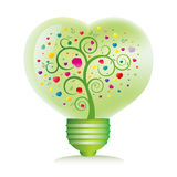 green heart light bulb Stock Image