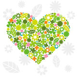 Green Heart Made of Flowers Stock Photo