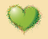 Green heart made of flowers Royalty Free Stock Image