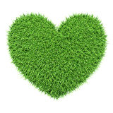 Green heart made of grass isolated on white Stock Image