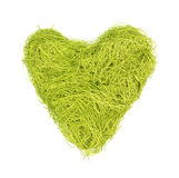 Green heart made of strings on a white background royalty free stock images