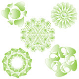 Green heart ornaments. Heart ornament collection, isolated on white background stock illustration