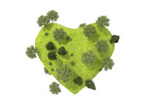Green Heart overgrown with grass and trees. Isolated on a white background Royalty Free Stock Image
