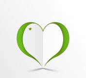 Green heart paper sticker. Vector illustration Stock Images