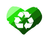 Green heart with recycle symbol. Digital painting - isolated on white background Royalty Free Stock Images