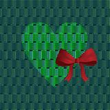 Green heart with a red bow. On a green background Royalty Free Stock Photos