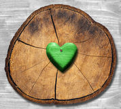 Green Heart on Section of Tree Trunk Royalty Free Stock Images