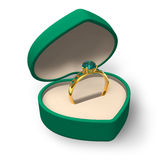 Green heart-shape box with golden ring with jewels Stock Photos