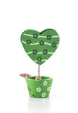 Green heart shape clip. On white Royalty Free Stock Photography