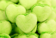 Green heart shaped candies Royalty Free Stock Photo
