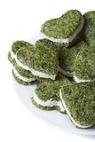 Green heart shaped cookies with spinach and cream cheese Royalty Free Stock Photos