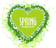 Green heart with text and floral composition on watercolor backdrop Stock Photography