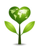 Green heart tree. Earth Map.Save the earth concept.Vector file Stock Photography