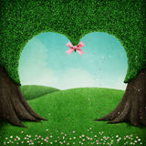 Green heart tree. Fantasy nature beautiful background tree   shape of  heart and  green crown and  field. Computer graphics Stock Photography
