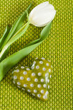 Green heart with tulip Royalty Free Stock Photo