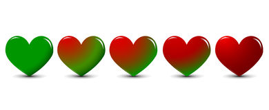Green heart turns to red heart Royalty Free Stock Photos