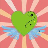 Green heart with wings on pink. Green heart with wings anda rays on pink background Royalty Free Stock Images