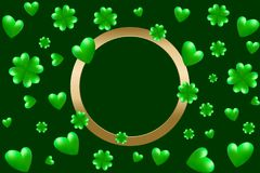 Green hearts, clovers and golden frame with space for text. Vector illustration for Saint Patrick Day Greeting Card. St Patrick`s day card. Green hearts, clovers Stock Photography