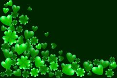 Green hearts, clovers and space for text. Vector illustration for Saint Patrick Day Greeting Card. St Patrick`s day border. Green hearts, clovers and space for Stock Photography