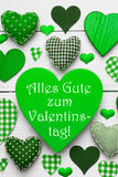 Green Hearts Texture, Text Valentinstag Means Happy Valentines Day Royalty Free Stock Photography