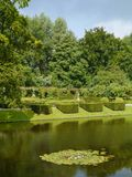 Green hedges plants and trees. The romantic garden of the  borg Verhildersum a castle in Leens in Groningen in the Netherlands Royalty Free Stock Image